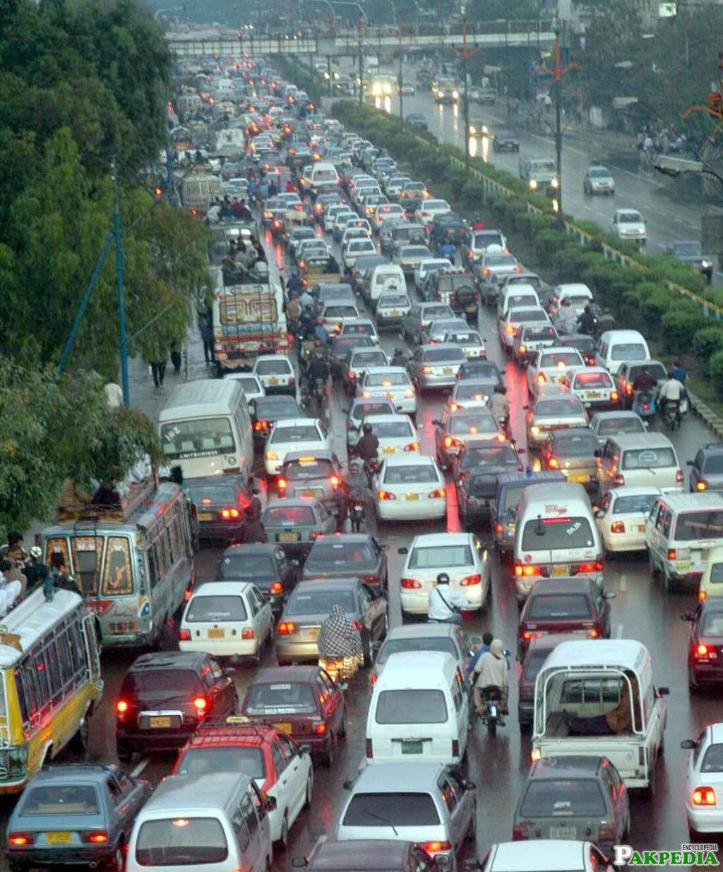 Road jam in Shahrah-e-faisal karachi