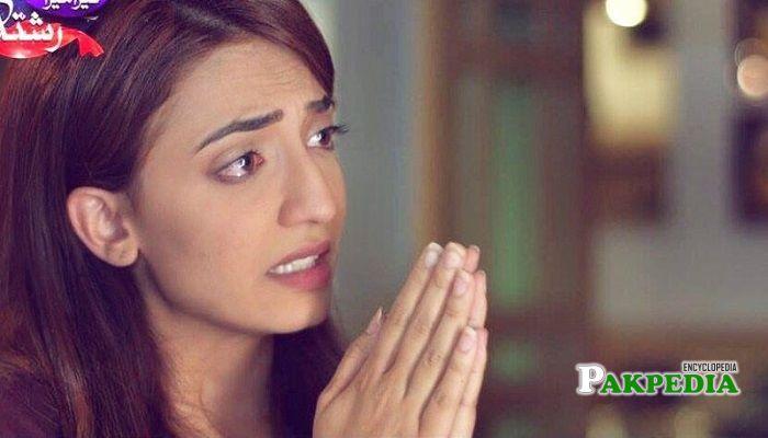 Marjan Fatima on the set of her debut serial