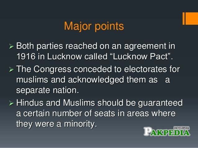 Major Points of Lucknow Pact