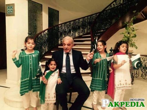 Shahbaz Sharif Celebrating Independence Day with their Grand Children