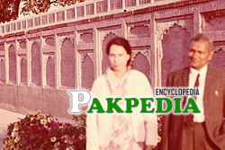 A. R. Hye and wife Qudsia at a historic Mughal Architecture site in Lahore