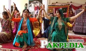 Students dance on Sindhi folk music during Sindhi Cultural Week at a school in Hyderabad.