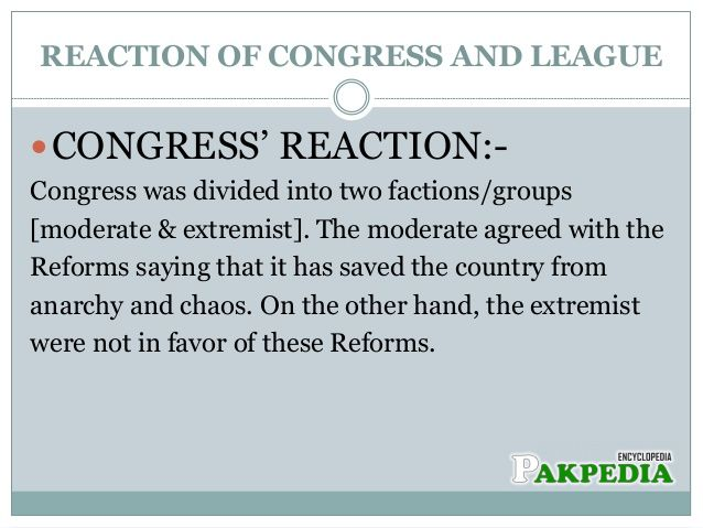 Congress's reaction
