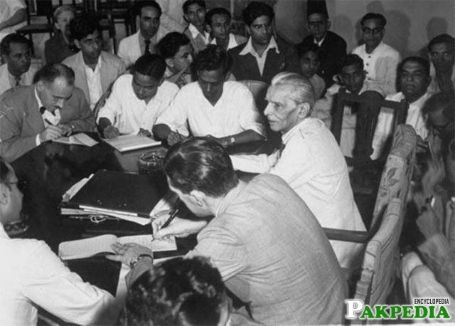 Jinnah during a press briefing