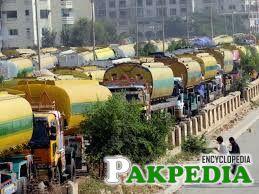 Oil Tankers stand in Karak