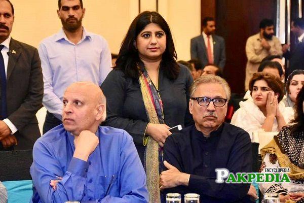Aisha Nawaz with Arif Alvi at a dinner held for MPAs