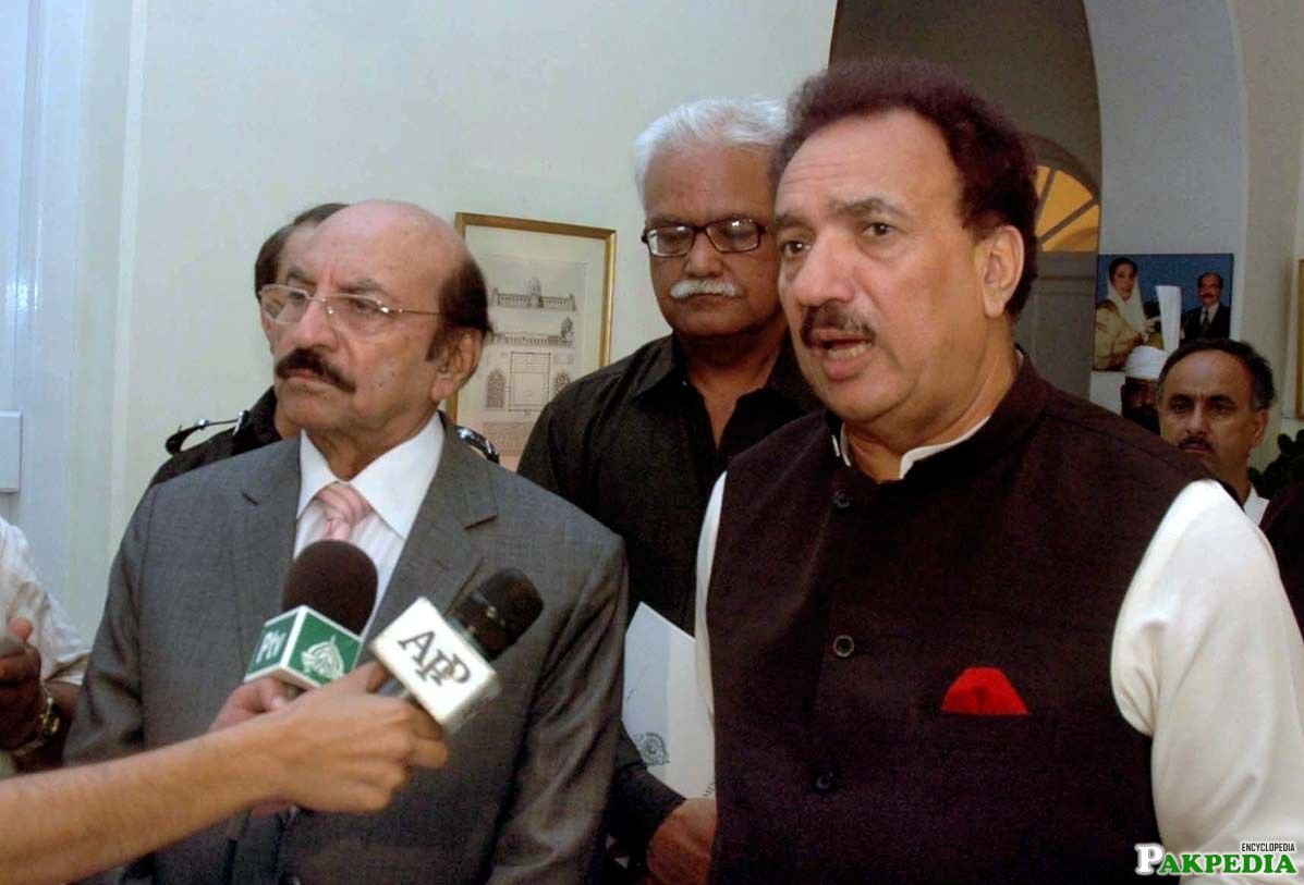 Rehman Malik with Qaim Ali Shah And Infront of Media