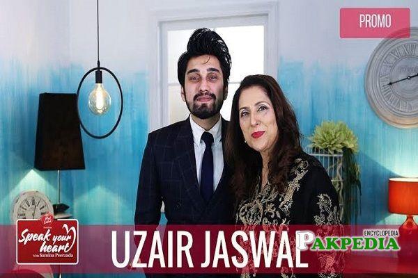 Uzair on sets of Rewind with Samina