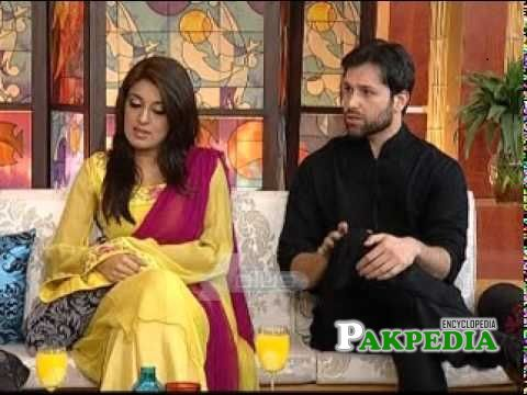 Abdullah with his wife in a morning show
