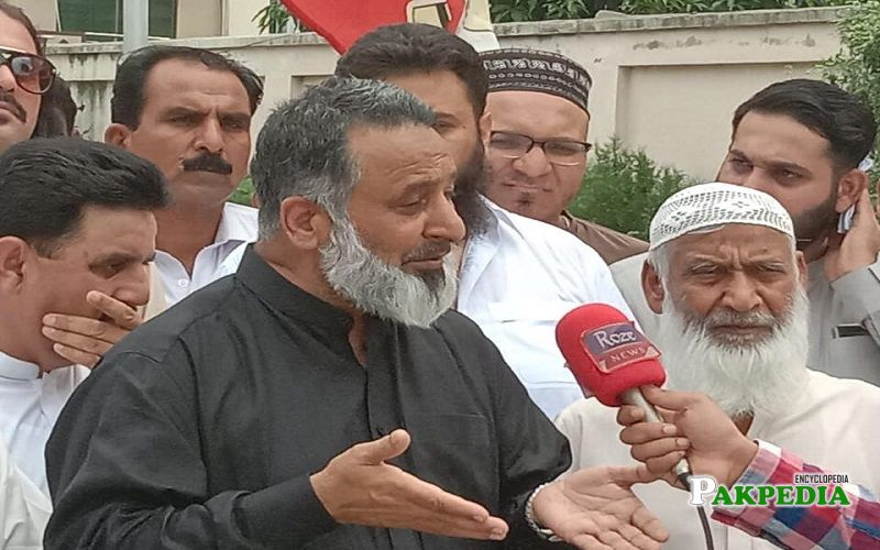 Amjad Mehmood Chaudhry during a protest for people of Kashmir