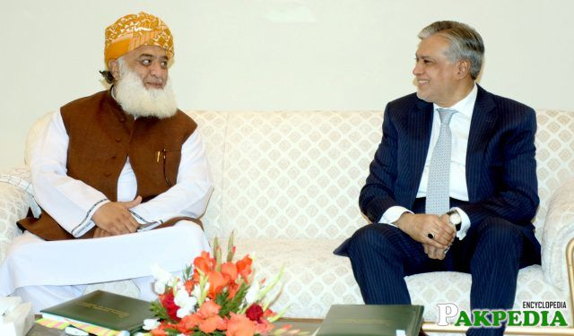 JUI-F Chief, Maulana Fazal ur Rehman called on Finance Minister, Senator Mohammad