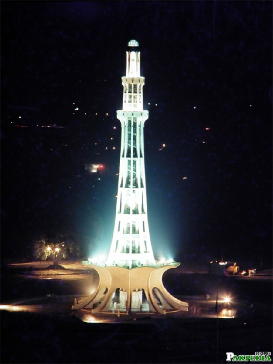 Minar-e-Pakistan looking Beautiful in Night Lights!