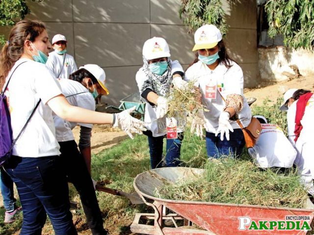 Volunteers clean Jinnah Postgraduate Medical Centre, the largest public hospital of the country