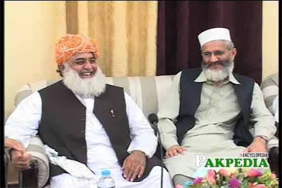 Siraj ul Haq with Maulana Fazal ur Rehman