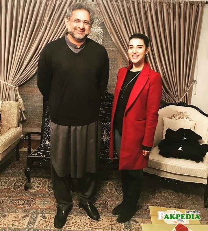 Hareem Farooq with Shahid Khaqan Abbasi