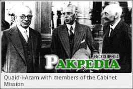 Cabinet mission members with Jinnah