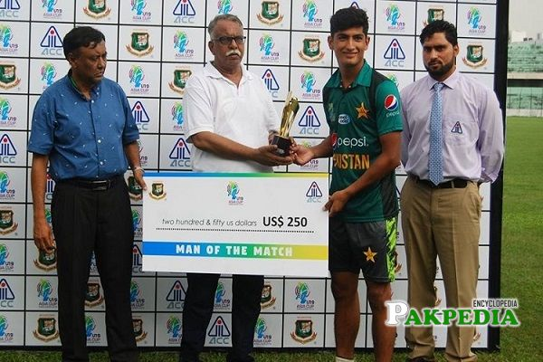 Naseem Shah while receiving his man of the match trophy