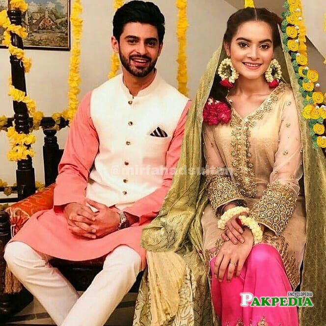 Saad Qureshi with Minal Khan during shooting