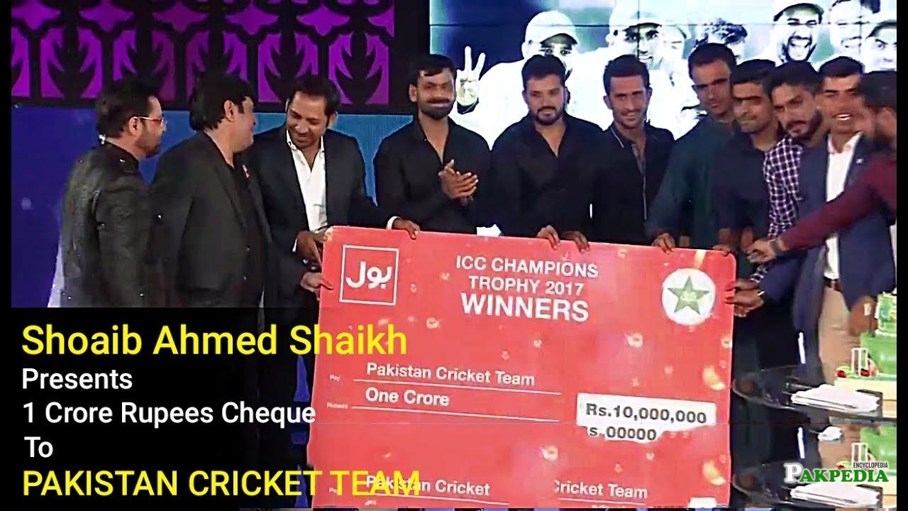 While giving ICC Champians Trophy to pakistani team