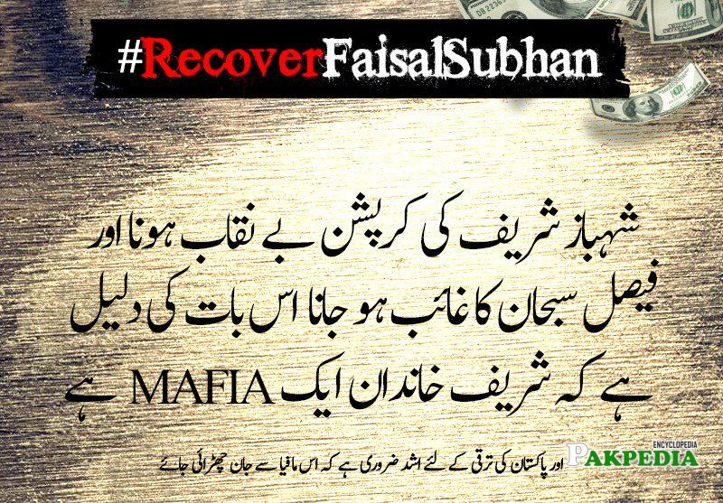 A new campaign recover faisal subhan has been started by PTI