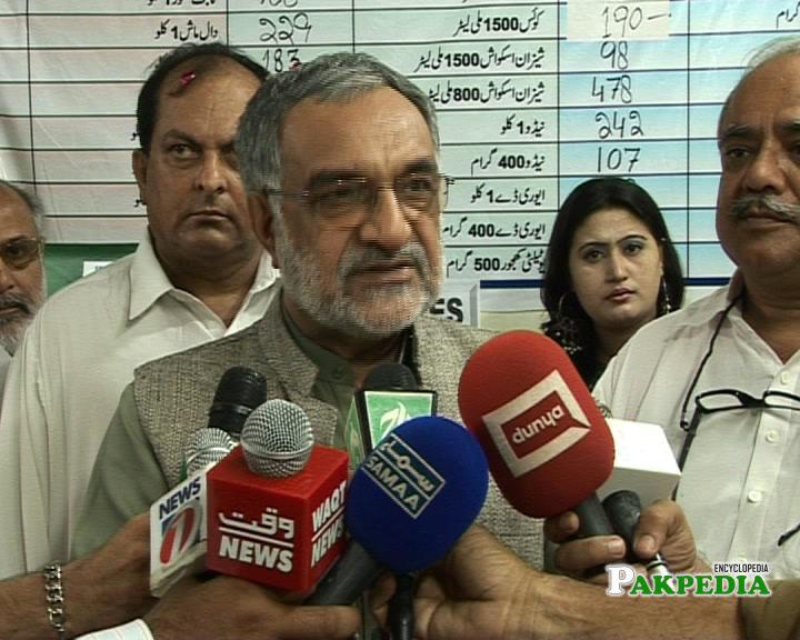 Hazar khan while talking to media