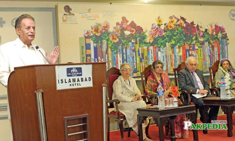 Writer Mustansar Hussain Tarar speaks at a session at the Urdu Literature Festival in Islamabad