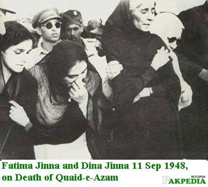 Fatima Jinnah and Dina Wadia at the Funeral of Quaid