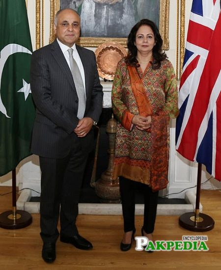 Aisha Ghaus with High Commissioner of Pakistan