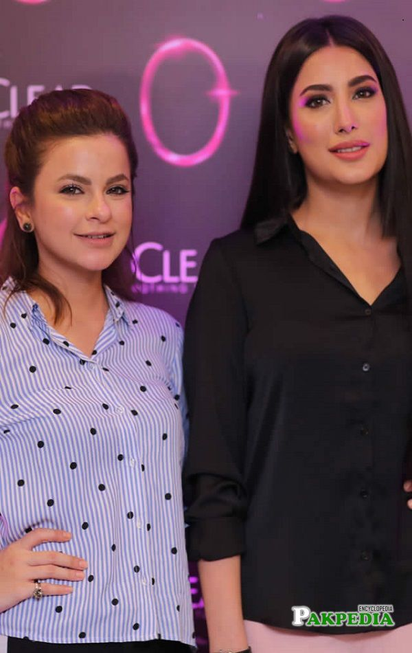 Hira Hussain with Mehwish Hayat at an event