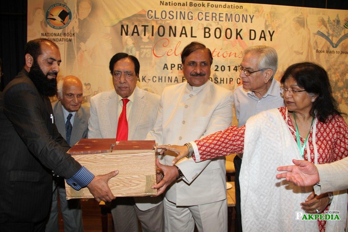 Riaz Ahmed Presenting a set of Books to N.B.F M.D. Amar Jalil , Raees Fatima and Ata ul Huq Qasmi