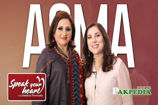 Samina Peerzada with Asma Abbas on set of Rewind with Samina