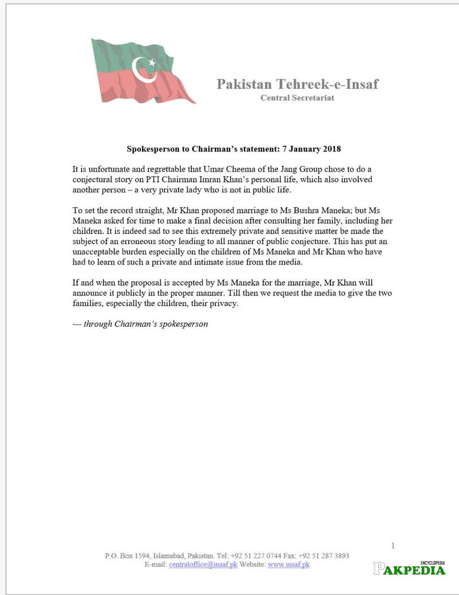 Official Statement issued by Chairman Secretariat