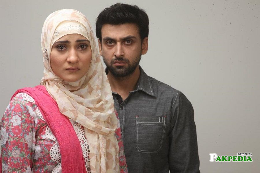 Sana Askari with Sami khan on shoot