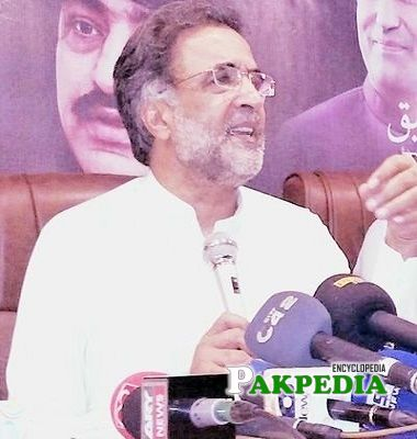 Qamar Zaman Kaira in a press conference
