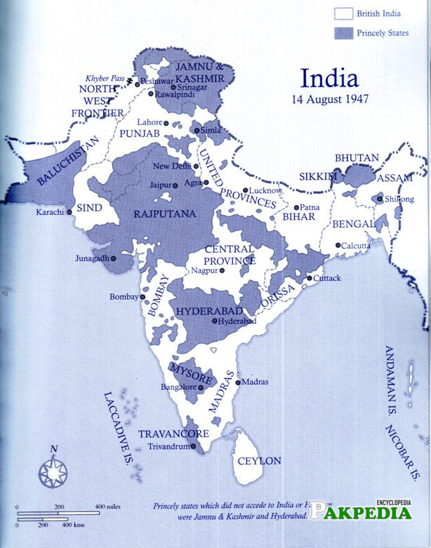Map of india before Boundary award