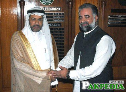 Abdul Aziz Al-Ghadeer Ambassador of Saudi Arabia shaking Hand with Murtaza Javed Abbasi