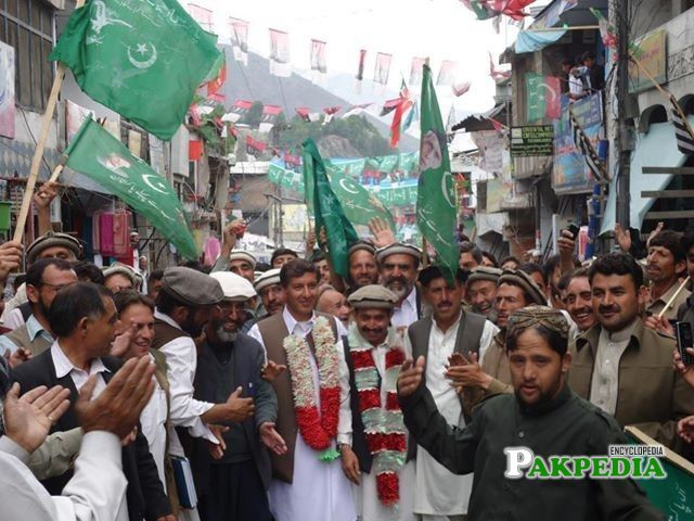 Shahzada Iftikharuddin celebrating his Victory