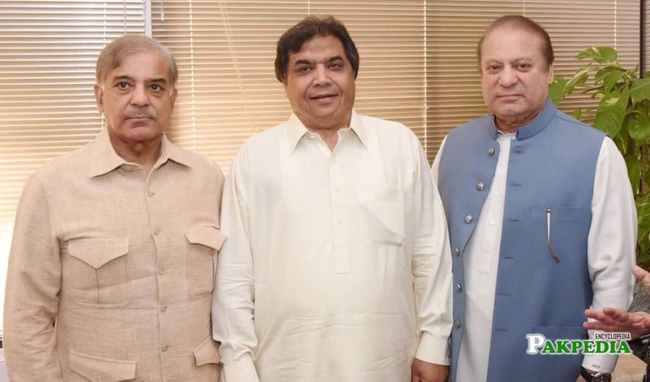 Hanif Abbasi with Nawaz and Shehbaz Sharif