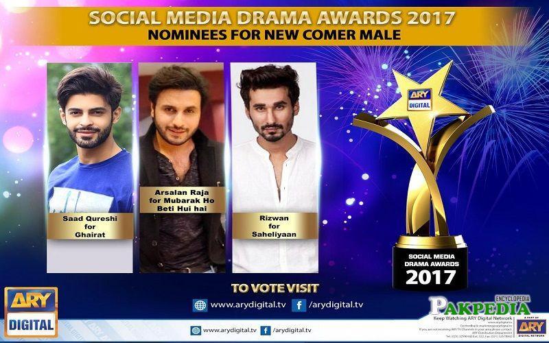 Arsalan nominated for a best new comer for social media awards