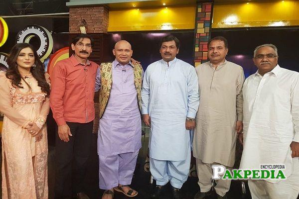 Malik Ahmad Saeed Khan with the team of Mazak raat