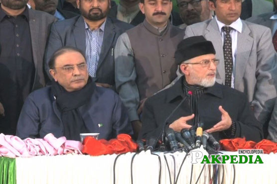 Dr Tahir-ul-Qadri With Asif Ali Zardari infront of Media