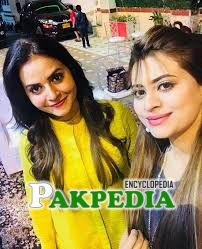 Beenish Chauhan with actress Benita