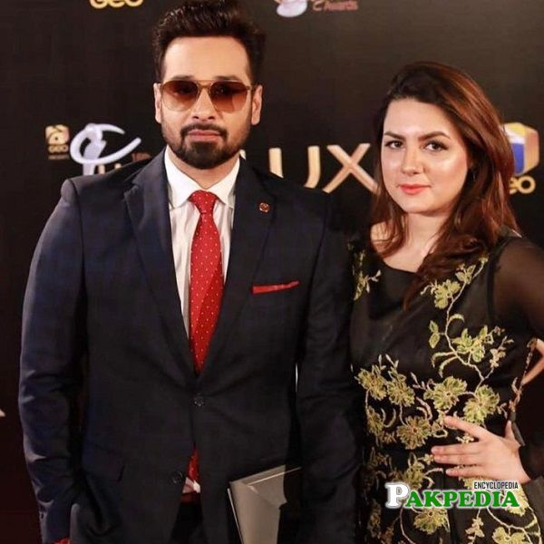 Faysal with his wife Sana Faysal on set of Lux Awards