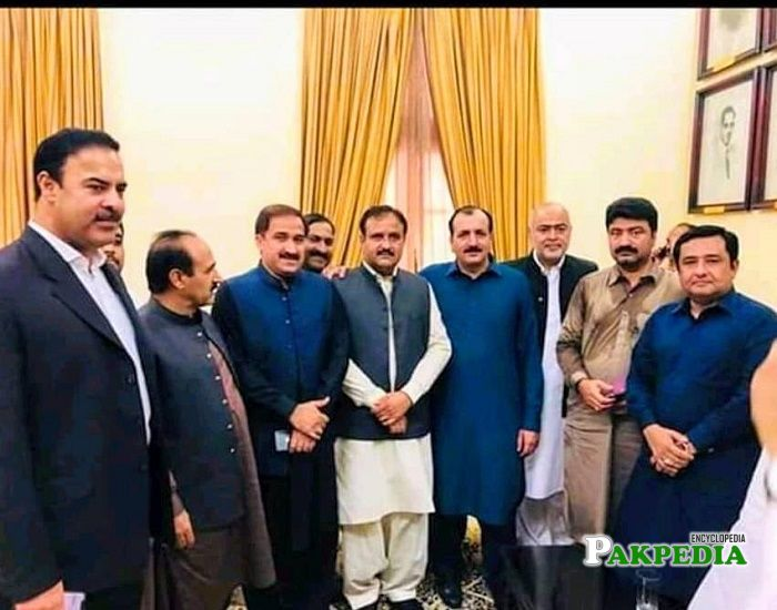 Aamir Talal with the members of PTI