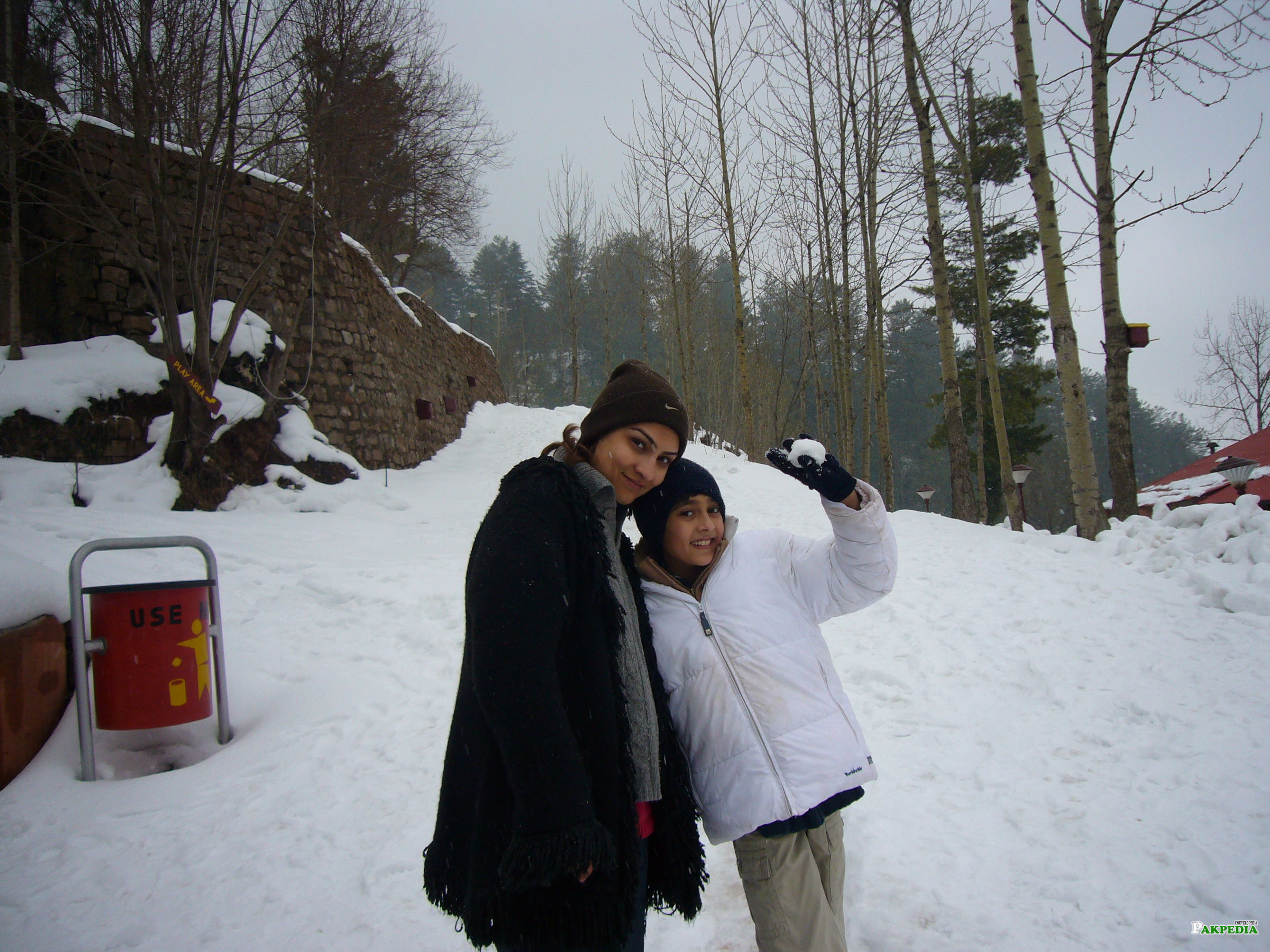 With her son in Murree