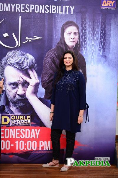 Savera while promoting her drama serial