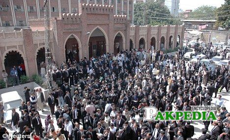 Lawyers gathered infront of court