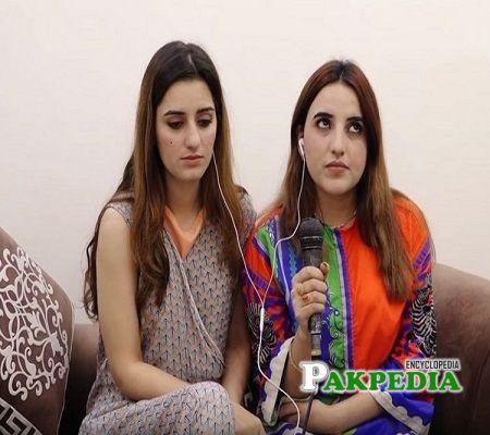 Hareem with her friend Sandal Khattak