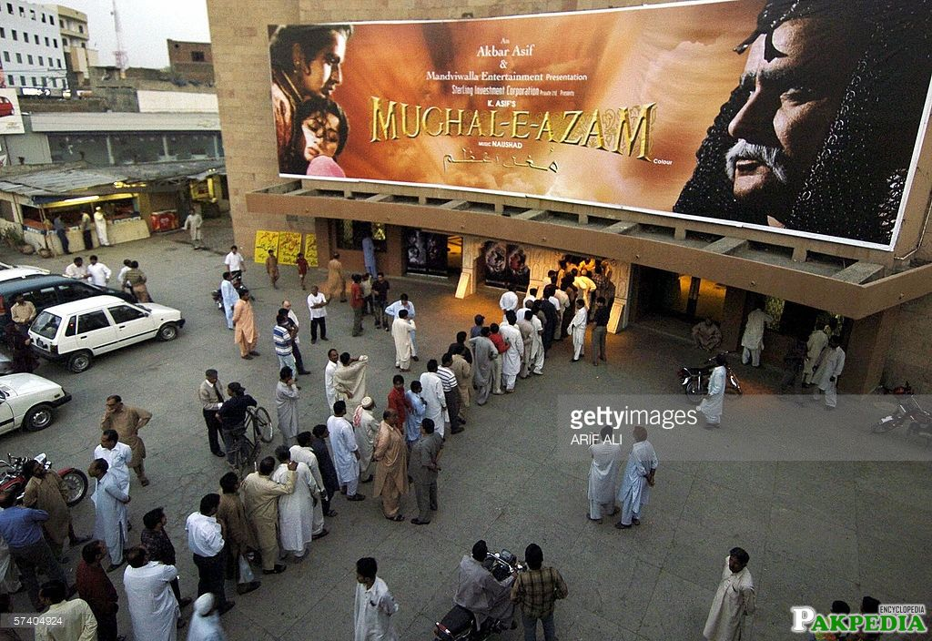 Pakistani cinema goers queue for tickets