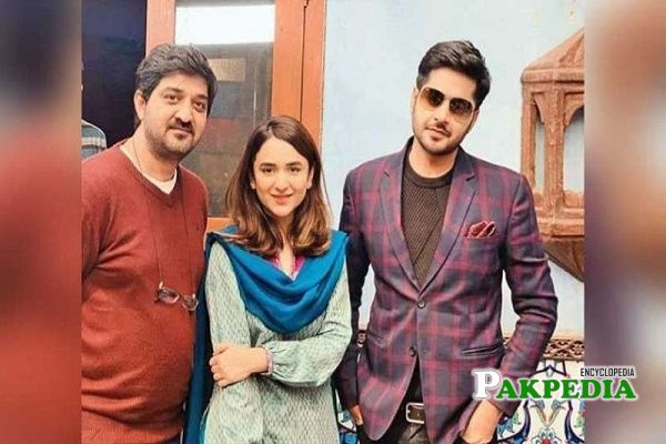 Imran with the cast of drama Inkaar